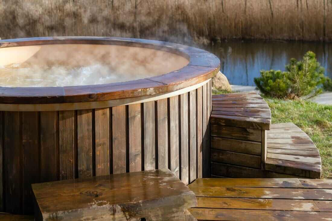 Hot tub with steam
